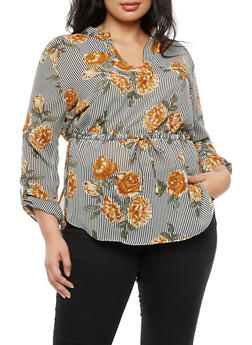 Plus Size Floral Striped Cinched Waist Top - 3803068700939