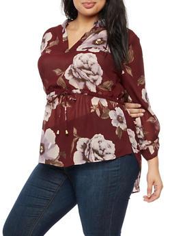 Plus Size Floral Cinched Waist Blouse - 3803068700940