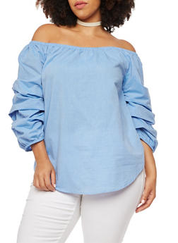 Plus Size Off the Shoulder Top with Puffed Sleeves - 3803068702924