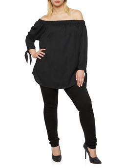 Plus Size Off the Shoulder Top with Tie Sleeves - 3803068707301