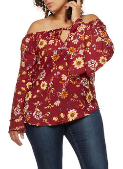 Plus Size Floral Tiered Bell Sleeve Off the Shoulder Top - BURGUNDY  F 842 - 3803068709137