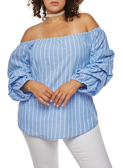 Plus Size Off the Shoulder Striped Top - 3803068709245