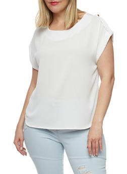 Plus Size Textured Knit Short Sleeve Blouse with Back Keyhole - WHITE - 3803069395087