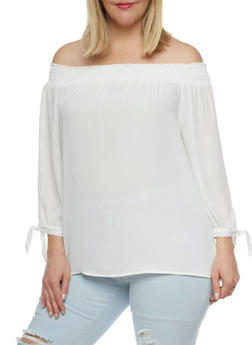 Plus Size Smocked Off the Shoulder Top - IVORY  OFF WHITE - 3803069398796