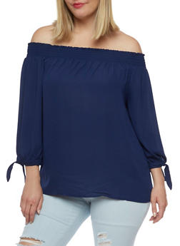 Plus Size Smocked Off the Shoulder Top - 3803069398796