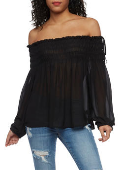 Plus Size Off the Shoulder Smocked Neck Top - 3803069398833