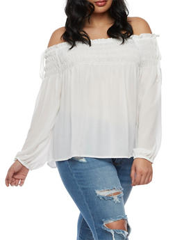 Plus Size Off the Shoulder Smocked Neck Top - IVORY   OFF WHITE - 3803069398833