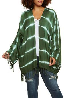 Plus Size Kimono with Tie Dye Stripes - 3803070650070