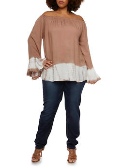 Plus Size Peasant Top with Off the Shoulder Neckline - 3803070650413