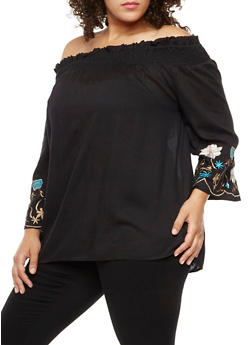 Plus Size Embroidered Off the Shoulder Peasant Top - 3803070651303