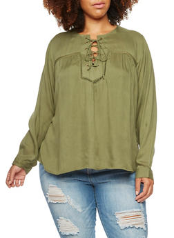 Plus Size Lace-Up Top with Crochet Accents - 3803070656007