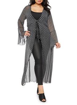 Plus Size Printed Maxi Kimono with Tie Waist - 3803072240651