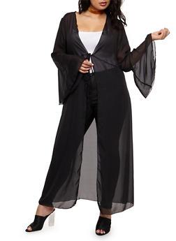 Plus Size Maxi Kimono with Tie Waist - BLACK - 3803072246341