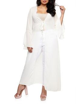 Plus Size Maxi Kimono with Tie Waist - IVORY - 3803072246341