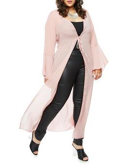 Plus Size Maxi Kimono with Tie Waist - 3803072246341