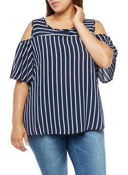 Plus Size Stripe Cold Shoulder Blouse - 3803072246449