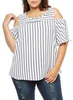 Plus Size Stripe Cold Shoulder Blouse - 3803072246449