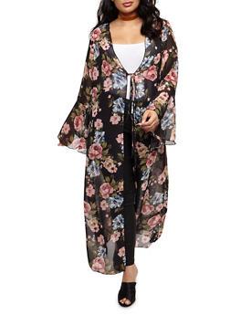 Plus Size Floral Maxi Kimono with Tie Waist - 3803072246512