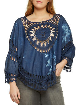 Plus Size Chambray Top with Crochet Accent - 3803073352250