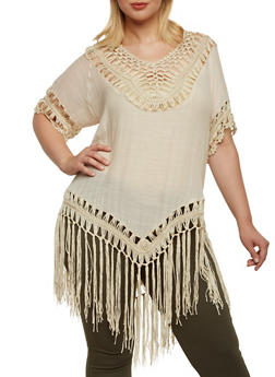Plus Size Top with Crochet Fringe - 3803073358747
