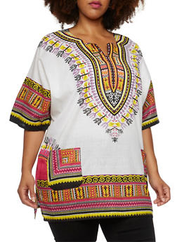Plus Size Dashiki Print Top with Hat - 3803073464528