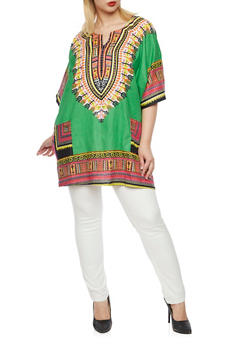 Plus Size Dashiki Print Top and Hat - 3803073464528