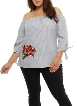 Plus Size Striped Off the Shoulder Floral Applique Top - 3803074014932