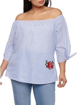Plus Size Striped Off the Shoulder Floral Applique Top - 3803074014932