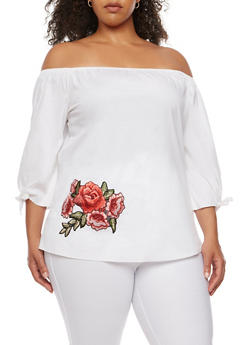 Plus Size Off the Shoulder Top with Floral Applique - 3803074014933