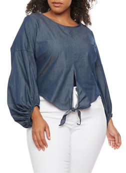 Plus Size Chambray Tie Front Top - 3803074014965
