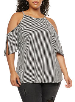 Plus Size Cold Shoulder Striped Top - 3803074014973