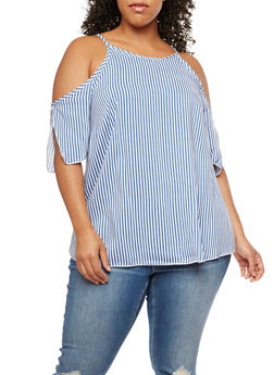 Plus Size Cold Shoulder Striped Top - 3803074014973