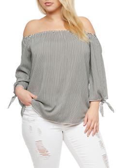 Plus Size Striped Off the Shoulder Top - 3803074014974