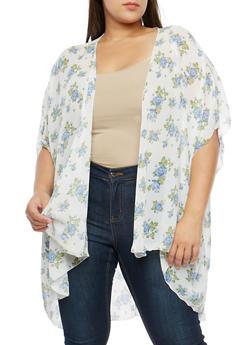Plus Size Floral Kimono - 3803074014983