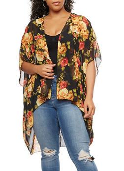 Plus Size Floral Kimono - MUSTARD/BLK  FS SR70133 - 3803074014983