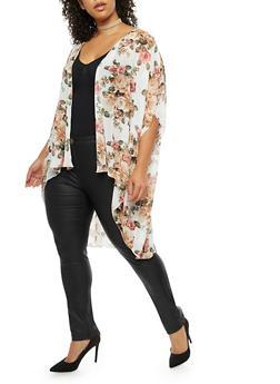 Plus Size Floral Kimono - IVORY/TAUPE FSR70133 - 3803074014983