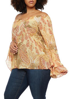 Plus Size Off the Shoulder Printed Top with Bell Sleeves - 3803074015033