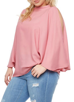 Plus Size Cold Shoulder Blouse with Tank Top Insert - 3803074017984