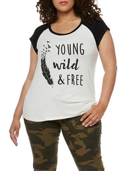 Plus Size Young Wild and Free Graphic Top - 3806061350520