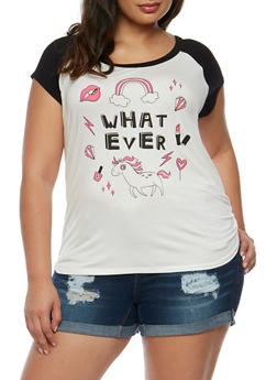 Plus Size Whatever Graphic Raglan Top - 3806061355200