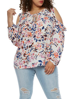 Plus Size Ruffled Long Sleeve Cold Shoulder Top - 3807051066937