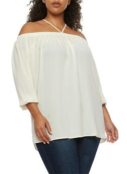 Plus Size Off the Shoulder Halter Top - OFF WHITE - 3807051066938