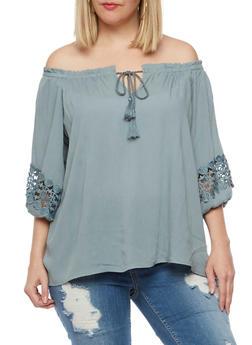 Plus Size Off the Shoulder Gauze Knit Top - 3807051066942