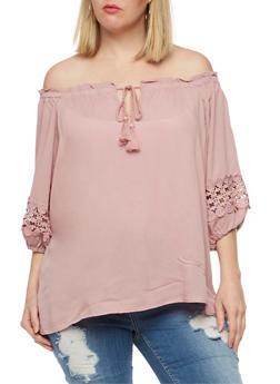 Plus Size Off the Shoulder Gauze Knit Top - DUSTY MAUVE - 3807051066942