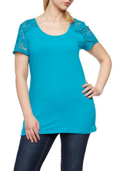 Plus Size Lace Yoke Short Sleeve T Shirt - 3809054266997