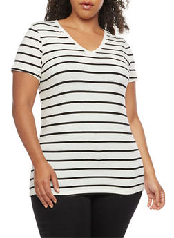 Plus Size Striped V Neck T Shirt - WHT-BLK - 3809066491006