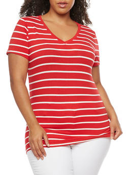Plus Size Striped V Neck T Shirt - 3809066491006