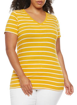 Plus Size Striped V Neck T Shirt - 3809066491006