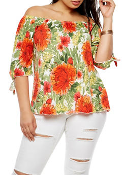 Plus Size Floral Print Off the Shoulder Top - 3810020625665
