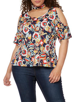 Plus Size Printed Cold Shoulder Choker Top - 3810020625805